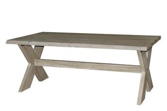 Esstisch-Gartentisch mit Kreuzbein 200 x 100 cm Ergrautes aufgearbeitetes Teakholz Fonteyn 750516-31