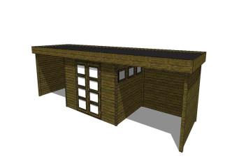 Gartenhaus/Blockhütte Fonteyn Module 1000 x 300 FMBMW7-31