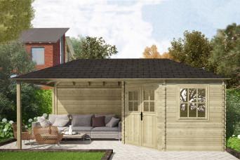 Gartenhaus / Blockhütte Fonteyn Eline Pyramidendach 300 Hochdruck imprägniert 600 x 300 cm 200055-31