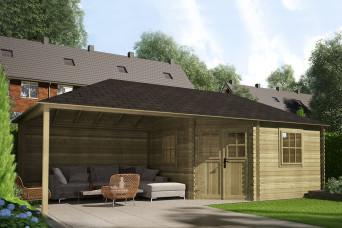 Gartenhaus / Blockhütte Fonteyn Eline Pyramidendach 380 Hochdruck imprägniert 760 x 380 cm 200056-31