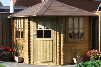 Gartenhaus / Blockhütte Fonteyn Margriet Pyramidendach Hochdruck imprägniert 240 x 240 cm 200088-31