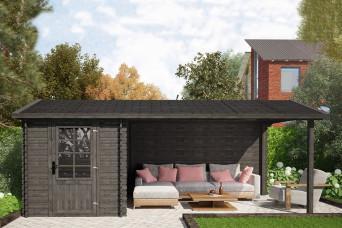 Fonteyn Gartenhaus / Blockhütte Petra Satteldach Hochdruck imprägniert 580 x 300 cm 200075-31