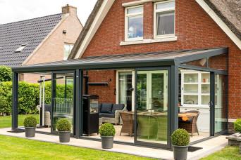 Terrassenüberdachung Topline Überdachung mit Polycarbonat klar oder opal 300 x 250 cm 330236-31