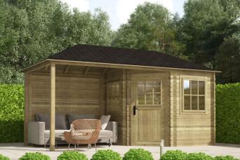 Gartenhaus / Blockhütte Fonteyn Eline Pyramidendach 240 Hochdruck imprägniert 480 x 240 cm 200054-31