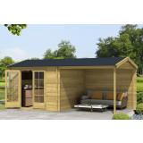 Gartenhaus/Blockhütte Fonteyn Vera Satteldach Hochdruck-Imprägniert 560 x 300 cm