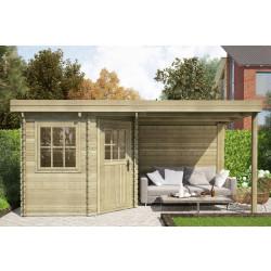 Gartenhaus / Blockhütte Fonteyn Annebeth Flachdach 240 Hochdruck imprägniert 480 x 240 cm