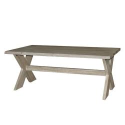 Esstisch-Gartentisch mit Kreuzbein 200 x 100 cm - Ergrautes aufgearbeitetes Teakholz - Fonteyn
