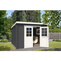 Outdoor Life Products | Tuinhuis Nadia 275 x 275 | Gecoat | Carbon Grey-Wit