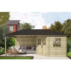 Gartenhaus / Blockhütte Fonteyn Eline Pyramidendach 300 Hochdruck imprägniert 600 x 300 cm