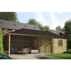 Gartenhaus / Blockhütte Fonteyn Eline Pyramidendach 380 Hochdruck imprägniert 760 x 380 cm