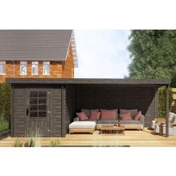 Fonteyn Gartenhaus / Blockhütte Petra Flachdach Hochdruck imprägniert 580 x 300 cm