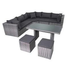 Fonteyn   Lounge-Dining Set Salou XL   Halfmoon Dark Grey