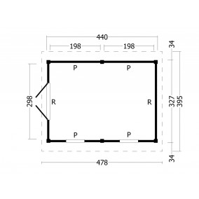 category Tuindeco | Overkapping Hamar L | Type 4 | Zwarte Wanden 211162-10