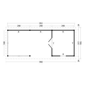 category Tuindeco | Overkapping Hamar XL | Type 7 | Zwarte Wanden 211197-10