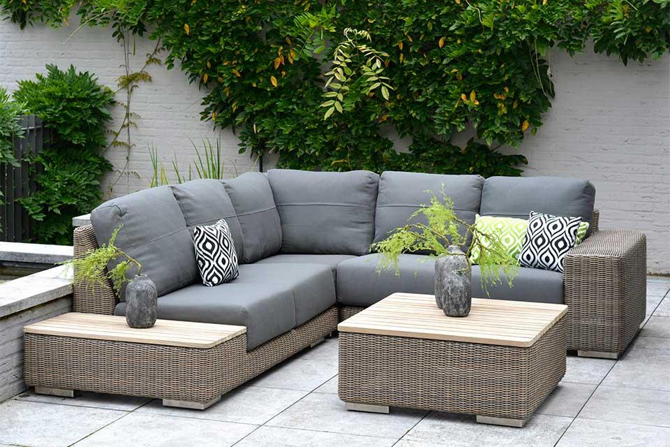 Loungeset Hoekbank Kingston | Wicker | Teakhout | 4 Seasons Outdoor!
