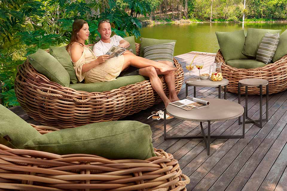 Cocoon Loungeset | Biculair Wicker | Apple Bee!